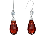 Star K™ Briolette Drop Cut Simulated Garnet Hanging Hook Chandelier Earrings style: 305073