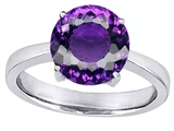 Star K™ Large Solitaire Big Stone Ring With 10mm Round Simulated Amethyst style: 305076