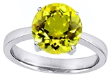 Star K™ Large Solitaire Big Stone Ring with 10mm Round Simulated Yellow Sapphire style: 305089