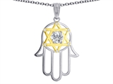 Tommaso Design™ Large 1.5 inch Hamsa Hand Jewish Star of David Protection Pendant Necklace with 6 Genuine Diamonds style: 305093