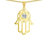 Tommaso Design™ Large 1.5 inch Hamsa Hand Jewish Star of David Protection Pendant with 6 Genuine Diamonds style: 305094