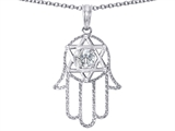 Tommaso Design™ Large 1.5 inch Hamsa Hand Jewish Star of David Protection Pendant Necklace with 6 Genuine Diamonds style: 305096