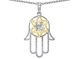 Tommaso Design™ Large 1.5 inch Hamsa Hand Jewish Star of David Protection Pendant Necklace with 6 Genuine Diamonds style: 305097