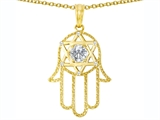 Tommaso Design™ Large 1.5 inch Hamsa Hand Jewish Star of David Protection Pendant with 6 Genuine Diamonds style: 305098