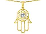 Tommaso Design™ Large 1.5 inch Hamsa Hand Jewish Star of David Protection Pendant Necklace style: 305102
