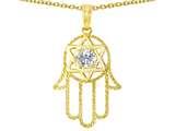 Tommaso Design™ Large 1.5 inch Hamsa Hand Jewish Star of David Protection Pendant Necklace style: 305102