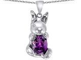 Star K™ Love Bunny Pendant Necklace With Simulated Amethyst Oval 10x8mm style: 305106