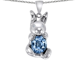 Star K™ Love Bunny Pendant Necklace with Simulated Aquamarine Oval 10x8mm style: 305107
