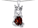 Star K™ Love Bunny Pendant Necklace With Simulated Garnet Oval 10x8 style: 305111