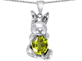 Star K™ Love Bunny Pendant Necklace With Simulated Peridot Oval 10x8 style: 305113