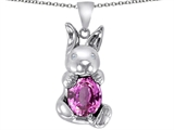 Star K™ Love Bunny Pendant Necklace with Created Pink Sapphire Oval 10x8mm style: 305114