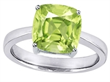 Star K™ Large 10mm Cushion Cut Solitaire Ring With Simulated Peridot style: 305120