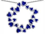 Star K™ Large Circle of Love Pendant Necklace with 20 Created Sapphire Hearts style: 305154