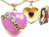 Star K™ 1.25 Inch True Love Pink Enamel Locket Necklace With Genuine Heart Amethyst Inside style: 305155