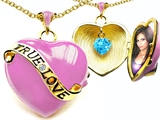 Star K™ 1.25 Inch True Love Pink Enamel Locket Necklace With Simulated Heart Aquamarine Inside style: 305157