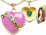 Star K™ 1.25 Inch True Love Pink Enamel Locket Necklace With Simulated Heart Emerald Inside style: 305159