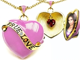 Star K™ 1.25 Inch True Love Pink Enamel Locket Necklace With Genuine Heart Garnet Inside style: 305160