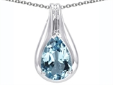 Star K™ Large 1inch Pear Shape Pendant Necklace with 14x10mm Simulated Aquamarine style: 305174