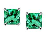 Star K™ Square 7mm Simulated Emerald Earrings style: 305200