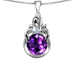 Star K™ Large Loving Mother With Twins Children Pendant Necklace With Round 10mm Simulated Amethyst style: 305272