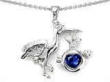 Star K™ Baby Stork Pendant Necklace with Heart Shape 8mm Created Sapphire style: 305274