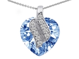 Star K™ Large 15mm Heart Shaped Simulated Aquamarine Soul Mate Pendant Necklace style: 305280