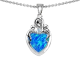Star K™ Loving Mother Twin Children Pendant Necklace With Heart Shape 8mm Blue Created Opal style: 305285