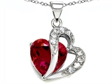 Star K™ Heart Shape 12mm Created Ruby Pendant Necklace style: 305294