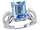 Star K™ Large Emerald Cut 10x8mm Simulated Aquamarine Solitaire Ring style: 305365