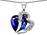 Original Star K™ Heart Shape Big 15mm Created Sapphire Pendant Extra Large Version style: 305391