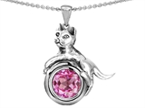 Star K™ Cat Lover Pendant Necklace with September Birth Month Round 7mm Created Pink Sapphire style: 305396