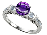Star K™ Classic 3 Stone Ring With Round 7mm Genuine Amethyst style: 305400