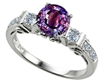 Star K™ Classic 3 Stone Ring With Round 7mm Simulated Alexandrite style: 305401