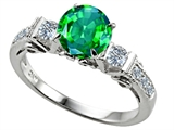 Star K™ Classic 3 Stone Ring With Round 7mm Simulated Emerald style: 305406