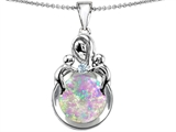 Star K™ Large Loving Mother With Children Pendant Necklace With Round Simulated Pink Opal style: 305428