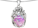 Star K™ Large Loving Mother Twins Family Pendant Necklace With 12mm Heart Shape Pink Created Opal style: 305431
