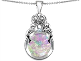 Star K™ Large Loving Mother And Family Pendant Necklace With Round Pink Created Opal style: 305437