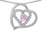 Star K™ Heart Shape Simulated Pink Opal Pendant Necklace style: 305439