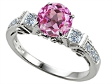 Star K™ Classic 3 Stone Ring With Round 7mm Created Pink Sapphire style: 305445