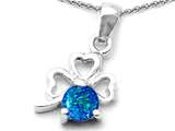 Celtic Love by Kelly Round Simulated Blue Opal Lucky Clover Pendant Necklace style: 305452