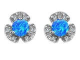 Star K™ Flower Earrings With Round 5mm Simulated Blue Opal style: 305464