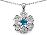 Star K™ Flower Pendant Necklace With Round 4mm Simulated Blue Opal style: 305465