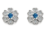 Star K™ Flower Earrings With Round Simulated Blue Opal style: 305466