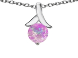 Star K™ Round 7mm Pendant Necklace with Pink Created Opal style: 305477