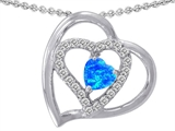 Star K™ Heart Shape Blue Created Opal Pendant Necklace style: 305482