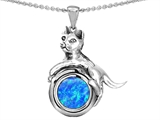 Star K™ Cat Lover Pendant Necklace with October Birth Month Blue Created Opal style: 305489