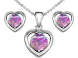 Star K™ Simulated Pink Opal Heart Pendant Necklace with matching earrings style: 305509