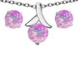 Star K™ Simulated Pink Opal Round Pendant Necklace with matching earrings style: 305510