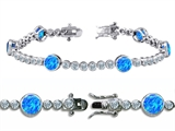 Star K™ High End Tennis Bracelet With 6pcs Round 6mm Simulated Blue Opal style: 305518