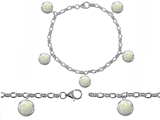 Star K™ High End Tennis Charm Bracelet With 5pcs 7mm Round Simulated Opal style: 305520